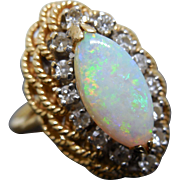 14k Opal and Diamond Ring sz 6 1/4