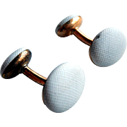 Art Deco 14k Gold White Enamel Cufflinks Cuff Links Cuff Buttons