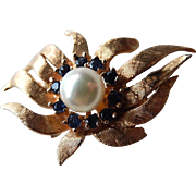 14k Pendant Enhancer Cultured Pearl and Sapphires