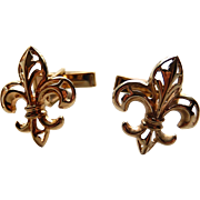 10k Cufflinks Fleur De Lis Yellow Gold Cuff Links 7.5g