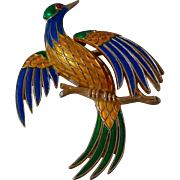 Trifari Bird of Paradise Brooch 1950s 1960s L'Orient