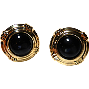 14k Black Enamel Earrings BOLD Puffed Hollow