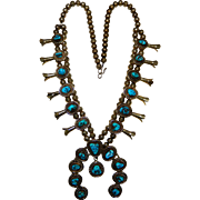 Turquoise Squash Blossom Necklace Sterling Kee Cook