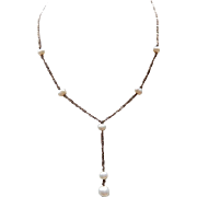 Sterling and Cultured Pearl Necklace Figaro Chain Y Necklace