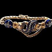 14k Victorian Bracelet Hands Enamel and Pearls Infiniti Symbol