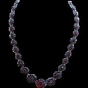 Bohemian Garnet Silver Necklace
