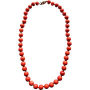 14k Pink Red Momo Coral Necklace 7-9mm