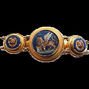 Victorian Grand 14k Micro Mosaic Lion of Venice Bracelet BOLD