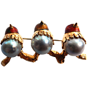 18k Brooch Enamel Birds with Cultured Pearl Bodies