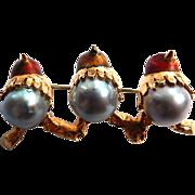 18k Brooch Enamel Birds with Cultured Pearl Bodies
