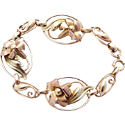10k Art Deco Floral Bracelet Carl Art Rose Gold