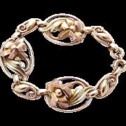 10k Art Deco Floral Bracelet Carl Art Rose Gold