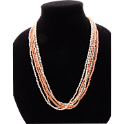 Chinese Export Angel Skin Coral Necklace Sterling