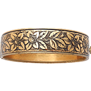 Art Nouveau Gold Plated Bracelet Flowers Floral