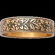 Art Nouveau Gold Plated Bracelet Flowers Floral