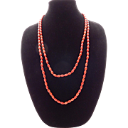 Red Sponge Coral Necklace 60""