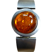 Large Modernist Amber Cuff Bangle Sterling Silver
