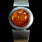 Large Modernist Amber Cuff Bangle Sterling Silver