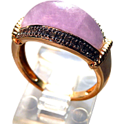 14K Lavender Jade Ring with Diamonds Sz 7 1/4