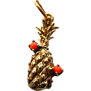 14k Pineapple and Coral Charm Vintage