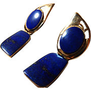 Vintage 14k Lapis Earrings with Sterling Backed Stones