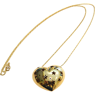 14k Heart Necklace Star Cutouts