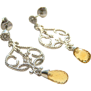 14k White Gold Dangle Earrings Citrine Briolettes