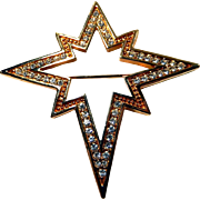 Swarovski Star Brooch Star of Bethlehem Signed Christmas Pin