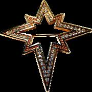 Swarovski Star Brooch Star of Bethlehem Signed Christmas Pin