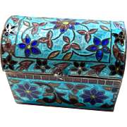 Sterling and Enamel Treasure Chest 925 Ring Box  Memento Snuff Box Pill Box