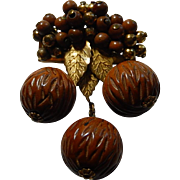 Haskell Carved Walnut Dangle Brooch Unsigned Early