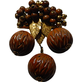 Unsigned Miriam Haskell Wooden Brooch Carved Walnut Dangle Brooch Unsigned Early