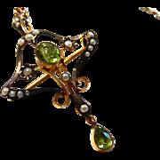 9K Edwardian Peridot Pendant and Necklace 9C Art Nouveau Rose Gold