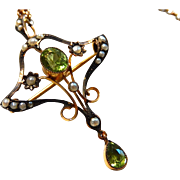 9K Edwardian Peridot Pendant and Necklace 9C Art Nouveau Rose Gold