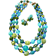 Hattie Carnegie Turquoise Necklace Set Triple Strand Necklace Blue Turquoise Green