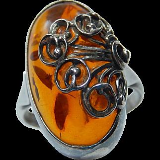 Amber Ring 800 Silver sz 9 3/4 Organic Design