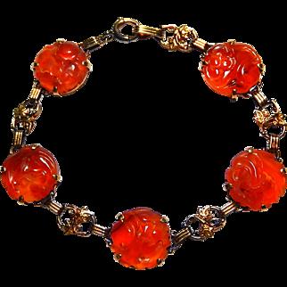 14k Art Deco Bracelet Pierced Carnelian Chinese