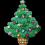 Christmas Tree Brooch with Rhinestones