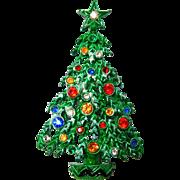 Christmas Tree Brooch Rhinestones Painted