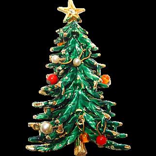 Art Christmas Tree Brooch Ornament Beads