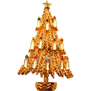 Art Christmas Tree Brooch with Candles