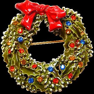 Christmas Wreath Brooch ART Enamel Rhinestones