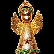 Art Angel Christmas Brooch Enameled