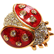 Swarovski Lady Bug Pin Red Enamel Clear Rhinestones