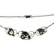 Danish leaf necklace polished with a beautiful patina