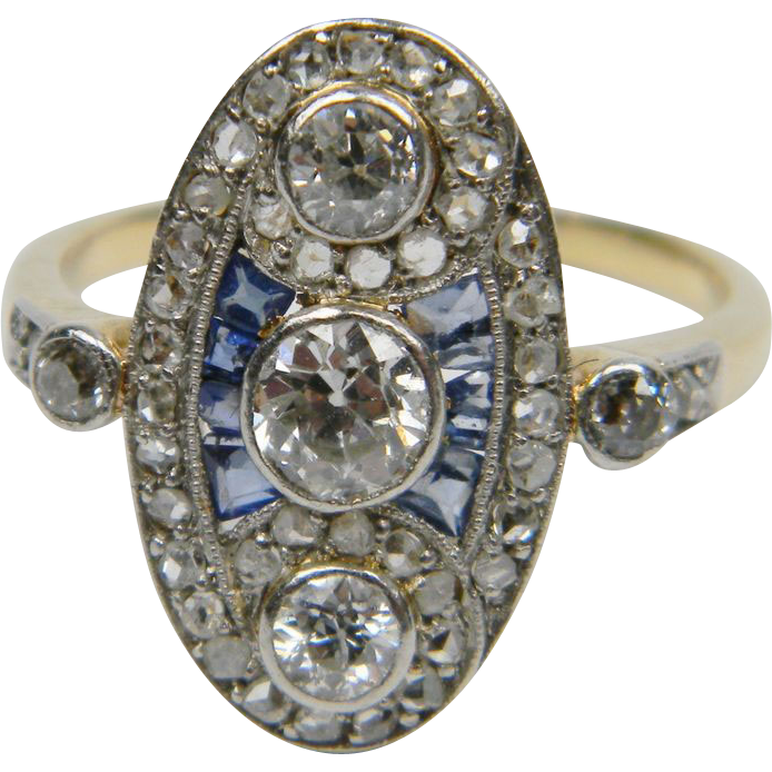 Belle epoque diamond and sapphire panel ring