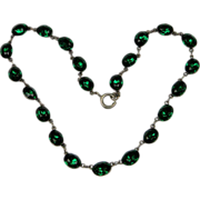 Emerald Green paste foiled  Riviere necklace (0623)
