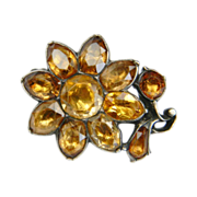 Imperial Golden Topaz Flower Brooch, Portuguese c.1760