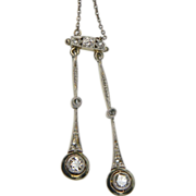 Edwardian double drop diamond pendant