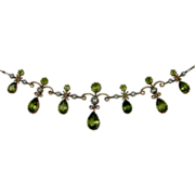 Edwardian Peridot and natural pearl necklace